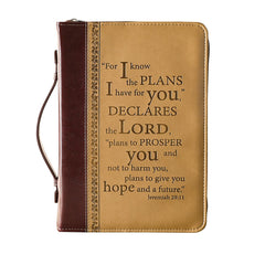 I Know the Plans Two-tone Brown Faux Leather Classic Bible Cover -  Jeremiah 29:11