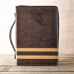 Wings Like Eagles Brown Banded Faux Leather Classic Bible Cover - Isaiah 40:31