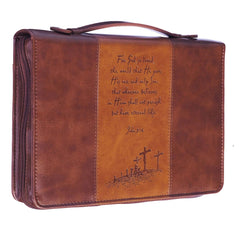 For God So Loved the World Two-tone Tan Faux Leather Classic Bible Cover - John 3:16