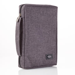 Gray Poly-canvas Bible Cover with Ichthus Fish Badge