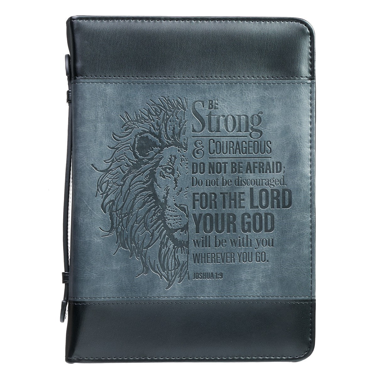 Be Strong Lion Two-Tone Classic Bible Cover - Joshua 1:9