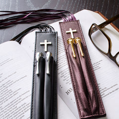 Bible Bookmark with two Pen Holders in Black