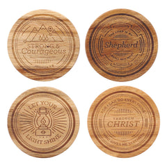 Four-piece Assorted Design Acacia Wood Coaster Set