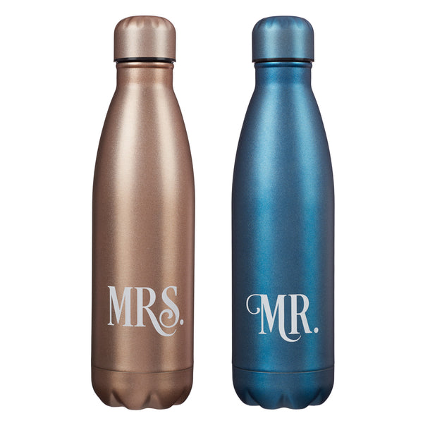 Mr and Mrs Blue and Gold Stainless Steel Water Bottle Set