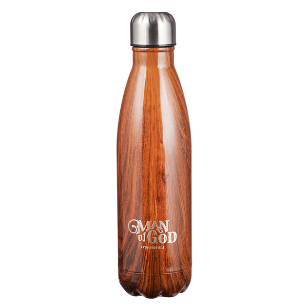Man of God Wood Design Stainless Steel Water Bottle - 1 Timothy 6:11