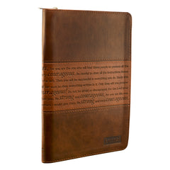Strong and Courageous Zippered Classic LuxLeather Journal - Joshua 1:5-7