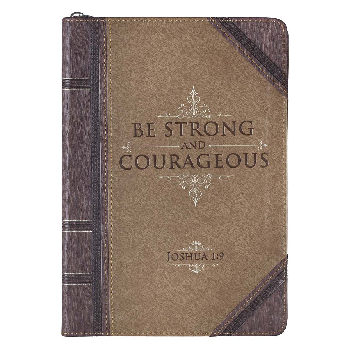 Strong and Courageous Antiqued Zippered Classic LuxLeather Journal - Joshua 1:9