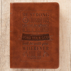 Be Strong and Courageous Brown Handy-sized Faux Leather Journal - Joshua 1:9