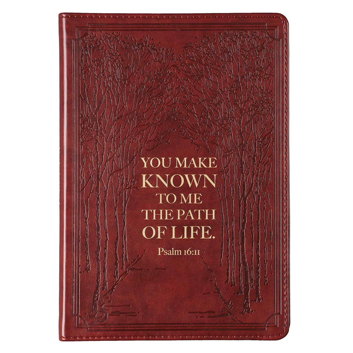 The Path of Life  Slimline Faux Leather Journal in Brown - Psalm 16:11
