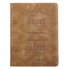 Trust in The Lord Handy-Sized Faux Leather Journal in Brown - Proverbs 3: 5-6