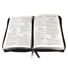 Black Zippered Faux Leather Compact King James Version Bible
