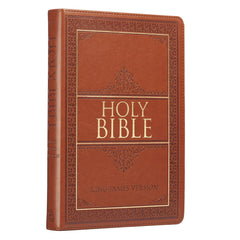 Tan Faux Leather Large Print Thinline KJV Bible with Thumb Index