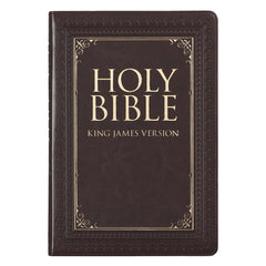 Dark Brown Faux Leather Large Print Thinline KJV Bible with Thumb Index