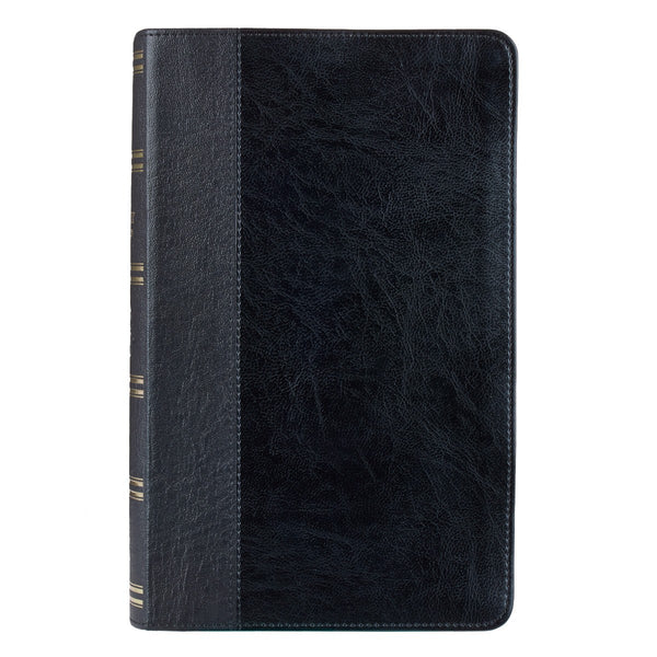 Black Half-bound Faux Leather Giant Print KJV Bible with Thumb Index