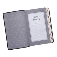 Black Half-bound Faux Leather Giant Print King James Version Bible with Thumb Index