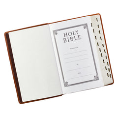 Tan Premium Leather Giant Print Bible  with Thumb Index - KJV