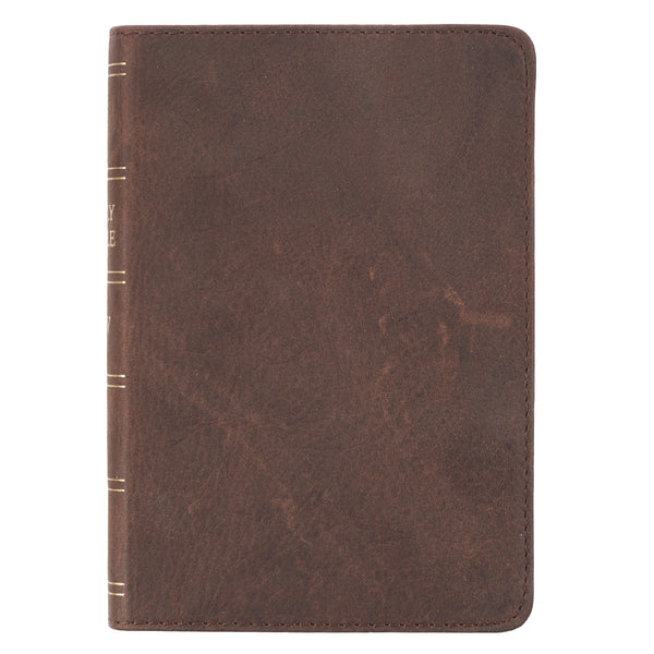 Dark Brown Premium Leather  Large Print Compact King James Version Bible