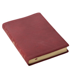 Burgundy Premium Leather Large Print Thinline King James Version Bible with Thumb Index
