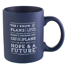 I Know the Plans Coffee Mug in Navy Jeremiah 29:11