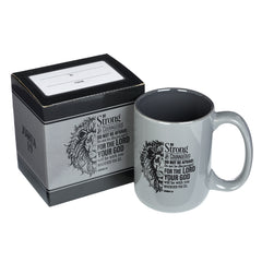 Be Strong Lion Gray Coffee Mug - Joshua 1:9