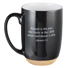 Blessed Man Ceramic Coffee Mug with Dipped Clay Base - Jeremiah 17:7