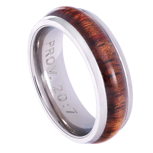 Stainless Steel Men's Ring with Wood Accent: Righteous Man - Proverbs 20:7