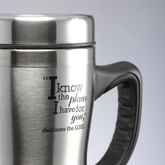 I know the Plans Stainless Steel Travel Mug With Handle - Jeremiah 29:11