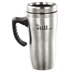 Be Still and Know  Stainless Steel Travel Mug With Handle - Psalm 46:10