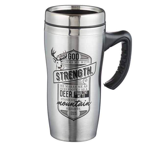 God Arms Me With Strength Stainless Steel Travel Mug With Handle - Psalm 18:32-33