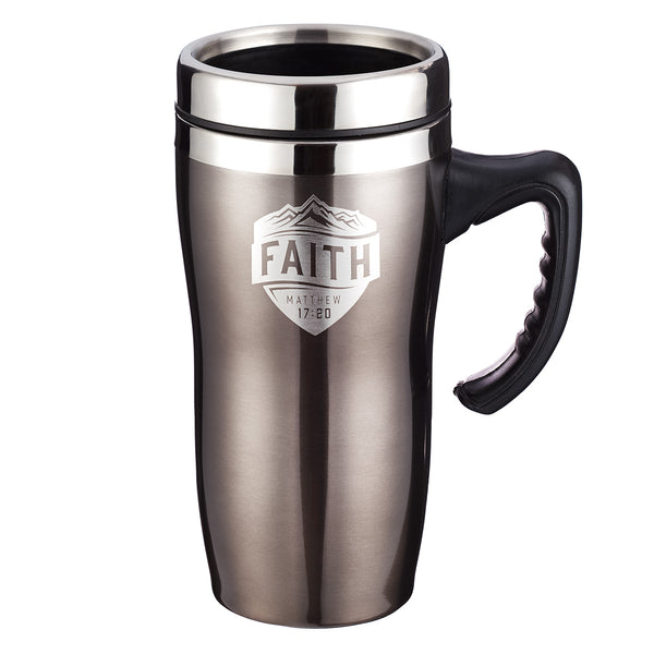 Faith Stainless Steel Travel Mug With Handle  - Matthew 17:20