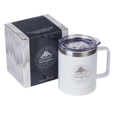 Strong & Courageous White Camp Style Stainless Steel Mug - Joshua 1:9