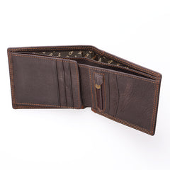 Strong and Courageous in Brown - Joshua 1:9 Leather Wallet in Tin