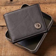 Strong and Courageous with Metal Medallion - Joshua 1:9 Leather Wallet in Tin