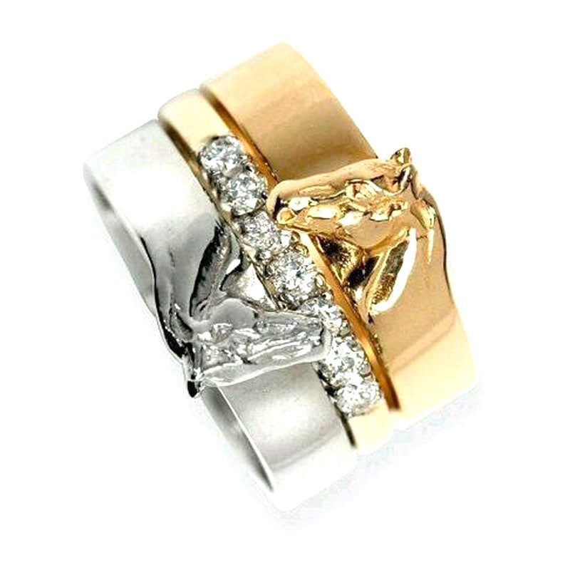 3 in 1 Stacked Horse Ring