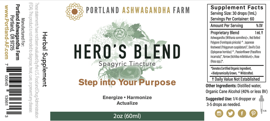 Portland Ashwagandha Farm Tincture Hero's Blend™ - Fresh Spagyric Tincture