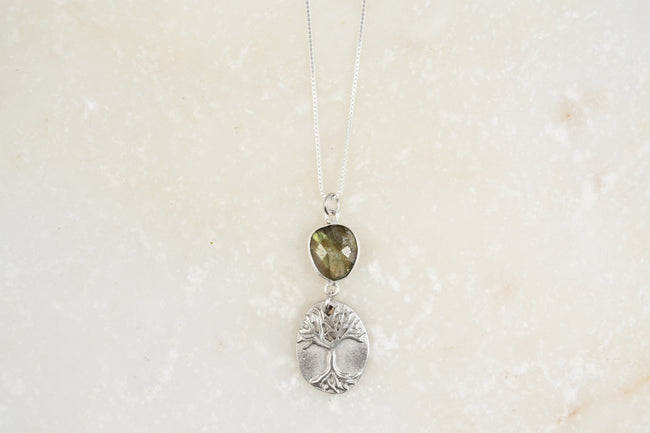 "Tree of Life Necklace w/Labradorite- 27"" Snake Chain"