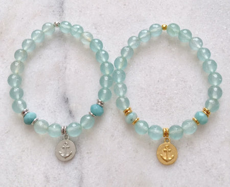 "Anchor Necklace w/Amazonite-16"" Petite Link Chain"