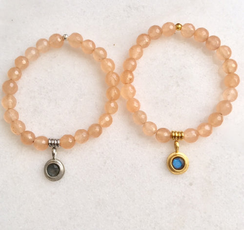 Positivity Bracelet with Peach Jade
