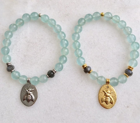 Bee Bracelet with Grey Moonstone and Amazonite