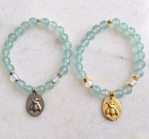 Bee Bracelet with Aquamarine and Opalite