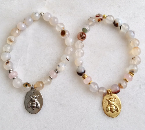 Bee Bracelet with White Agate and Rose Quartz