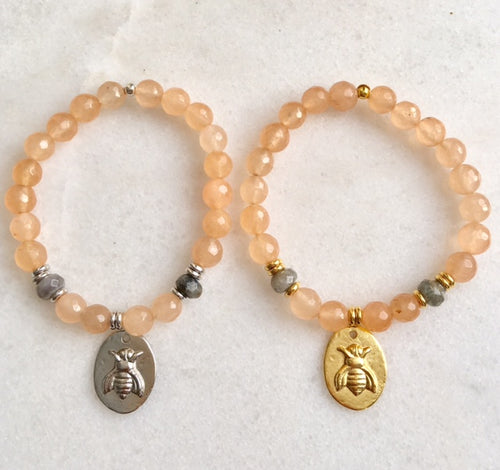 Bee Bracelet with Peach Jade and Labradorite