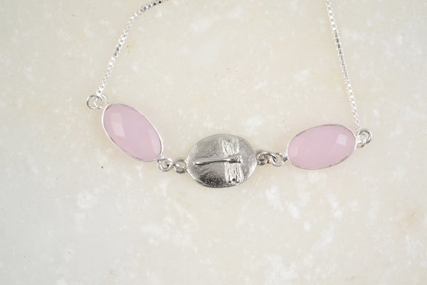 Dragonfly Rose Quartz Bracelet
