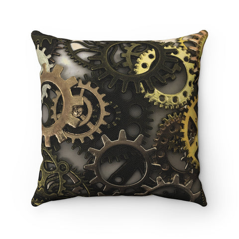 Steampunk Gears Polyester Square Pillow - Fyred up productions, the law of attraction, energy, love, birthday, gift