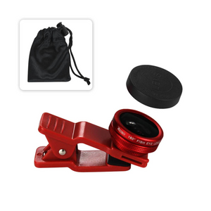 HD Camera Fish Eye Lens Built In 180 Degree Wide Angle In Red