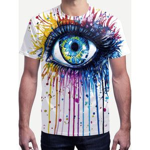 Men Paint Drip And Eye Print Tee