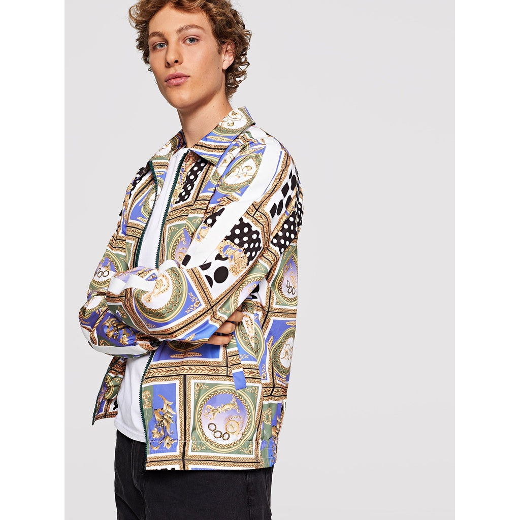 Men Zip Up Patchwork Jacket