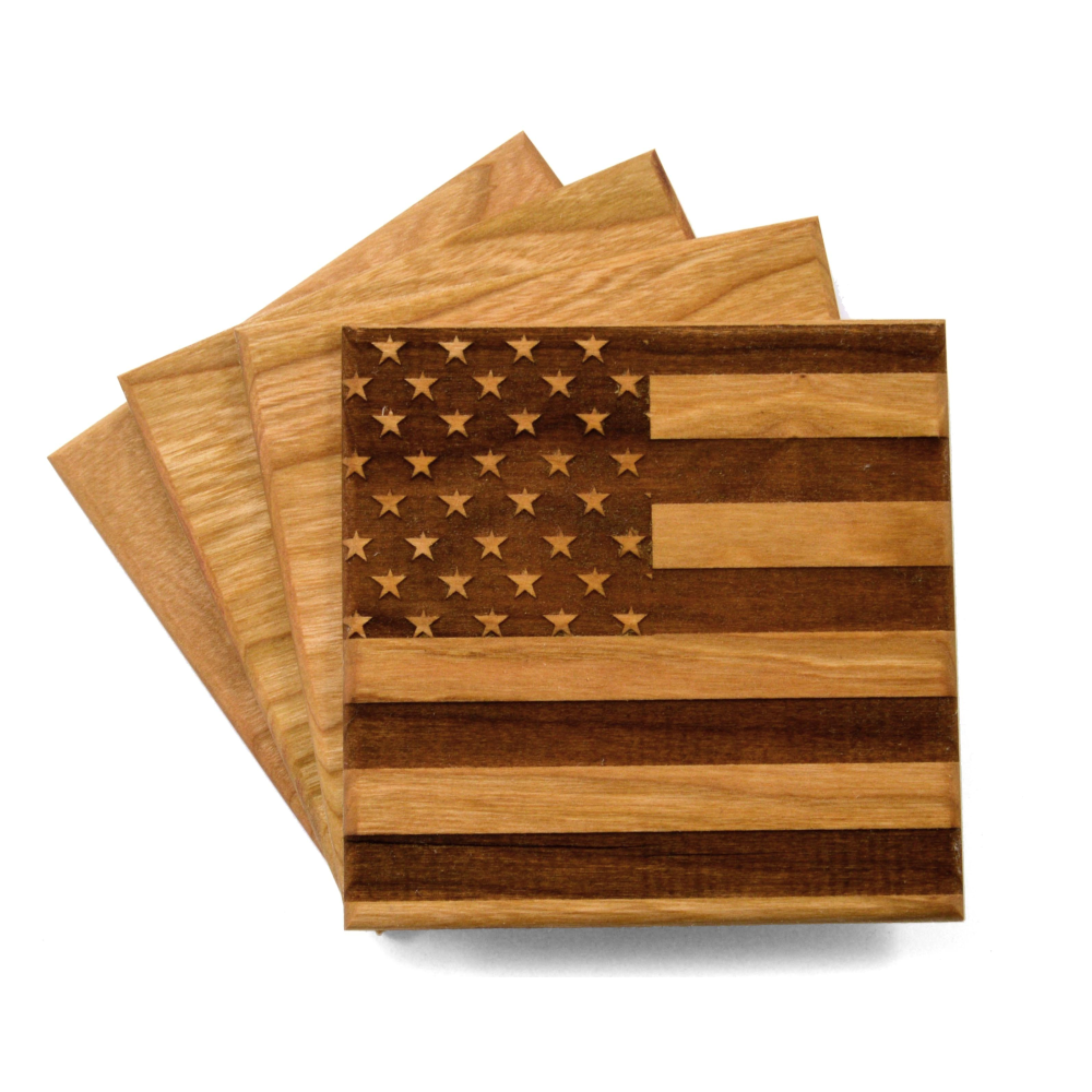 Cherry Wood American Flag Coasters