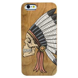 Indian Skull Wooden Phone Case