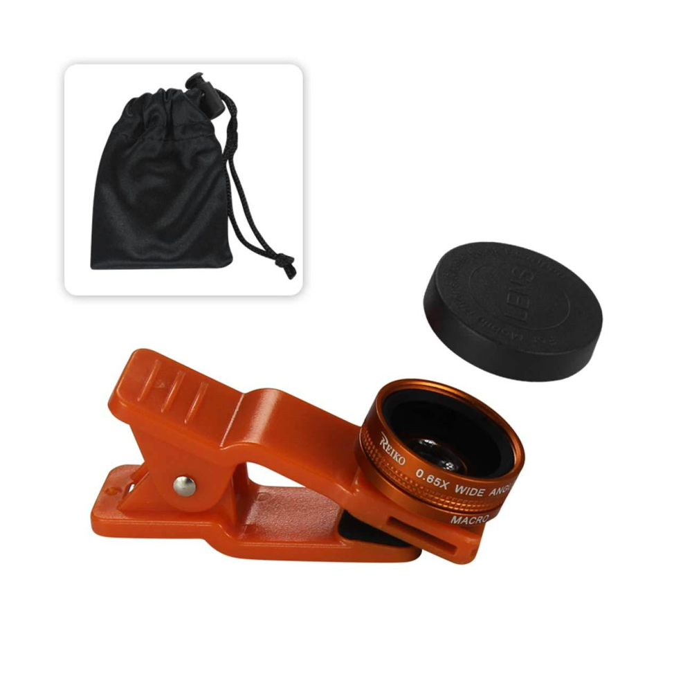 HD Camera Lens Kit Built In 10X Macro Lens And 100 Degree Wide Angle Orange For Iphones